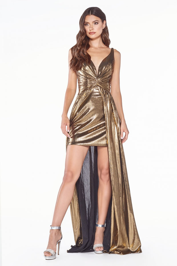 Cinderella Divine - CD0151 V Neck Metallic Dress In Brown