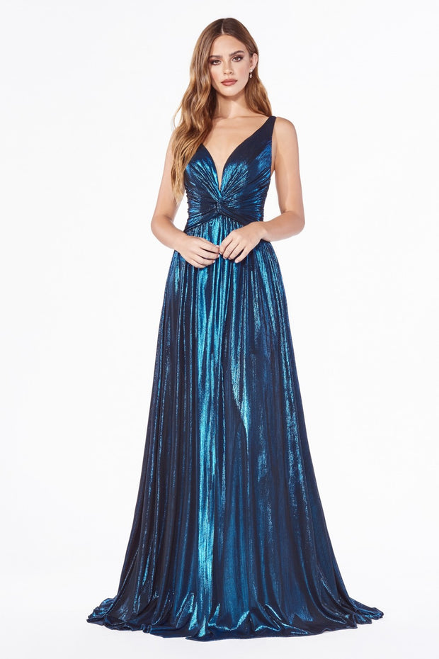 Cinderella Divine - CD0151 V Neck Metallic Dress In Blue