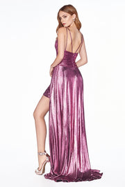 Cinderella Divine - CD0151 V Neck Metallic Dress In Purple