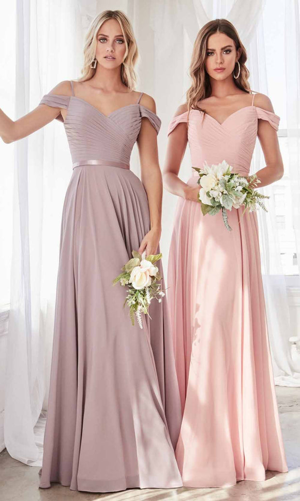 Cinderella Divine - CD0156 Cold Shoulder Chiffon Dress In Purple Gray and Pink