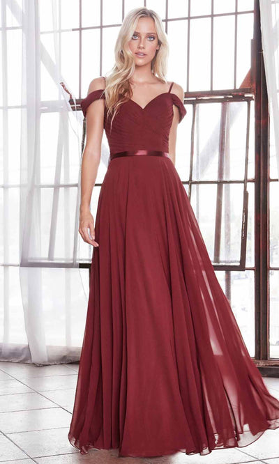 Cinderella Divine - CD0156 Cold Shoulder Chiffon Dress In Red and Black