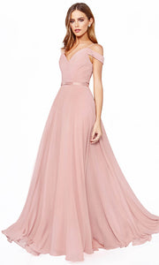 Cinderella Divine - CD0156 Cold Shoulder Chiffon Dress In Pink
