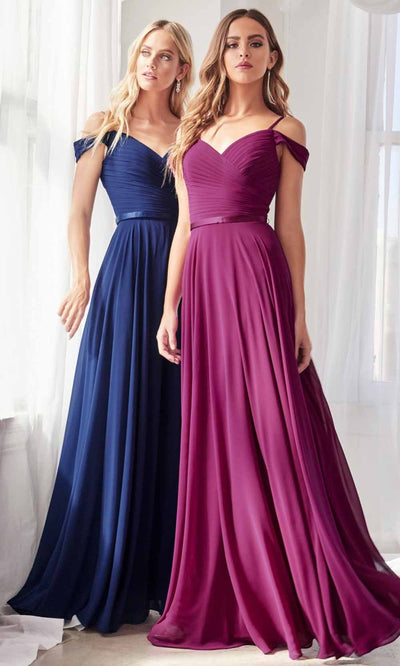 Cinderella Divine - CD0156 Cold Shoulder Chiffon Dress In Blue and Purple
