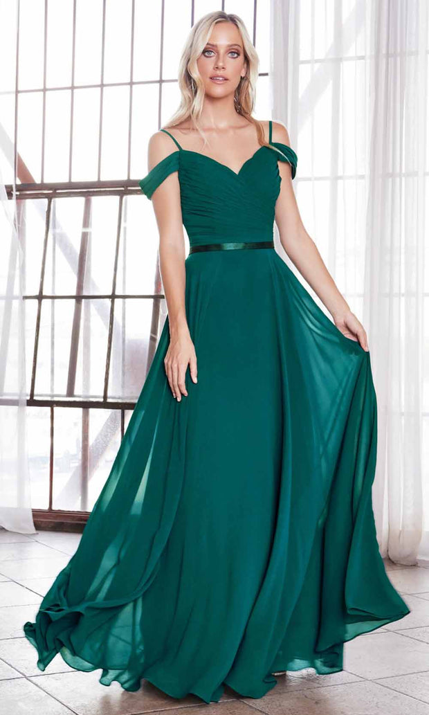 Cinderella Divine - CD0156 Cold Shoulder Chiffon Dress In Green