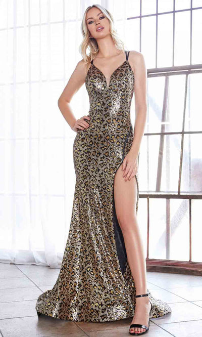 Cinderella Divine - CD0159 Leopard Print Zippered Slit Gown In Black and Brown