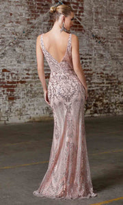 Cinderella Divine - CD0161 V Neck Glittered Sheath Gown In Pink and Gold
