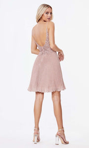 Cinderella Divine - CD0163S Scoop Back Glittered Dress In Pink