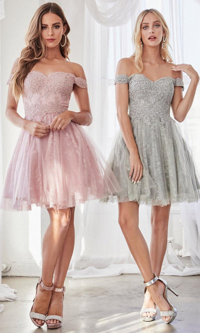 Cinderella Divine - CD0167 Adorned Lace Cocktail Dress In Pink and Silver