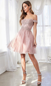 Cinderella Divine - CD0167 Adorned Lace Cocktail Dress In Pink