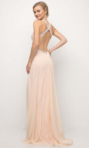 Cinderella Divine - CD019 Halter Neck Open Back Dress In Pink and White