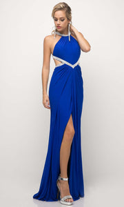 Cinderella Divine - CD019 Halter Neck Open Back Dress In Blue