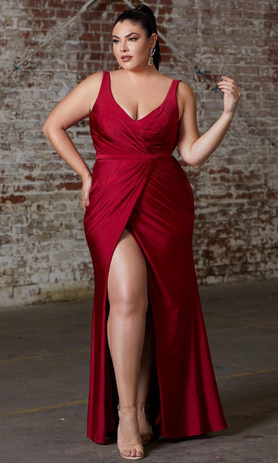 Cinderella Divine - CD157 Plunging V Neck Trumpet Dress In Red