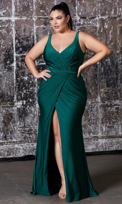 Cinderella Divine - CD157 Plunging V Neck Trumpet Dress In Green