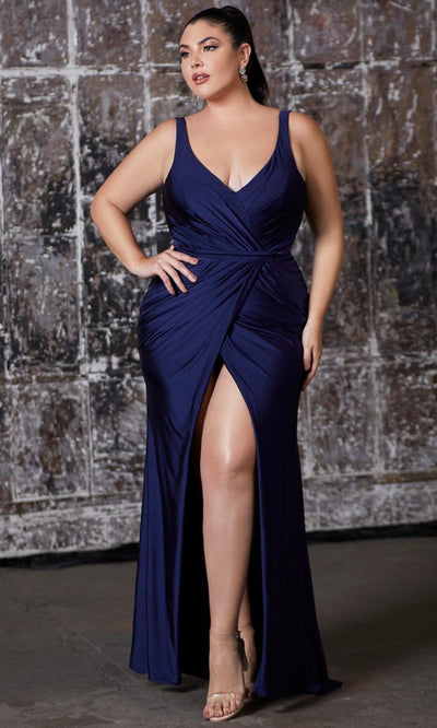 Cinderella Divine - CD157 Plunging V Neck Trumpet Dress In Blue