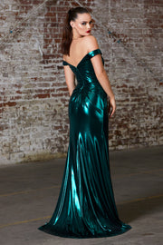 Cinderella Divine CD163 emerald green off shoulder metallic dress-back