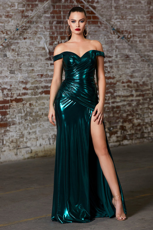 Cinderella Divine CD163 emerald green off shoulder metallic dress
