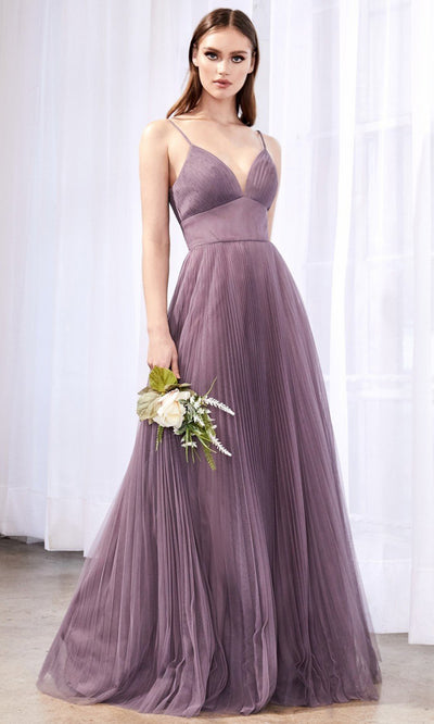 Cinderella Divine - CD184 Deep V Neck A-Line Dress In Purple