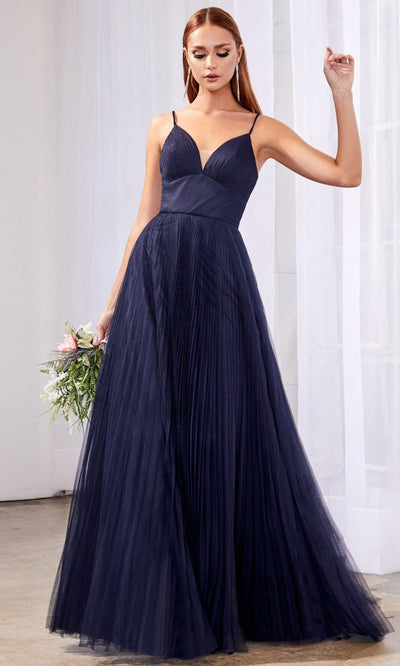 Cinderella Divine - CD184 Deep V Neck A-Line Dress In Blue