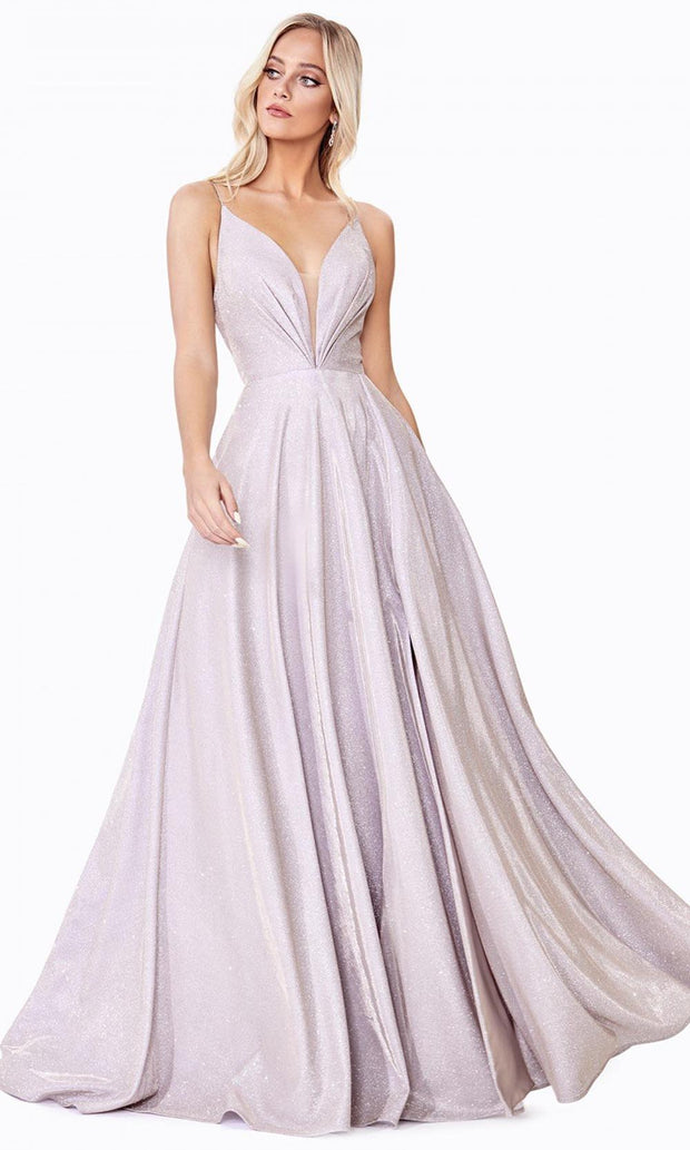 Cinderella Divine - CD185 Deep V Neck A-Line Gown In Neutral