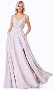 Cinderella Divine - CD185 Deep V Neck A-Line Gown