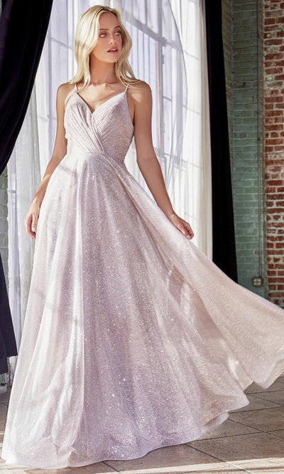 Cinderella Divine - CD186 V Neck Glitter A-Line Gown In Neutral