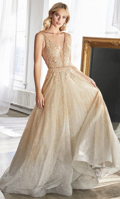 Cinderella Divine - CD208 Ombre Glitter A-Line Gown In Gold and Silver
