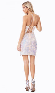 Cinderella Divine - CD209S Sequined Deep V Neck Fitted Dress In Multi-Color