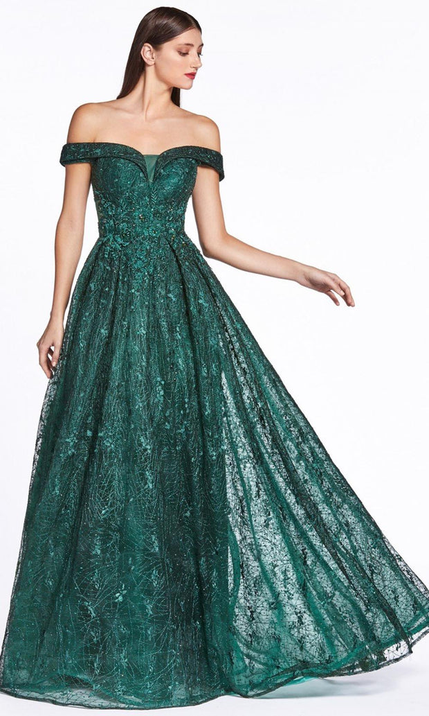 Cinderella Divine - CD38 Lace Off Shoulder A-Line Gown In Green