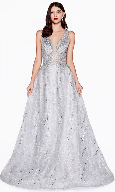 Cinderella Divine - CD46 Embellished V Neck A-Line Gown In Silver