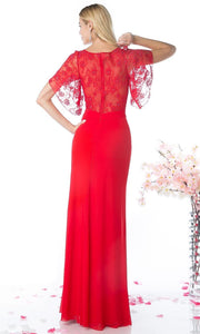Cinderella Divine - CD494 Lace Bateau Sheath Dress In Red
