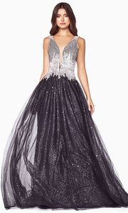 Cinderella Divine - CD70 Beaded Deep V Neck A-Line Gown In Black and Silver