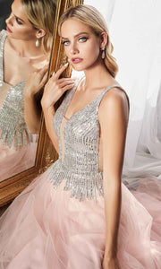 Cinderella Divine - CD70 Beaded Deep V Neck A-Line Gown In Pink