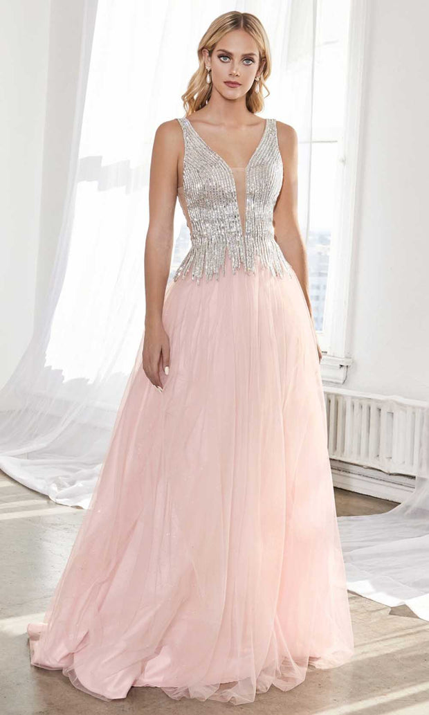 Cinderella Divine - CD70 Beaded Deep V Neck A-Line Gown
