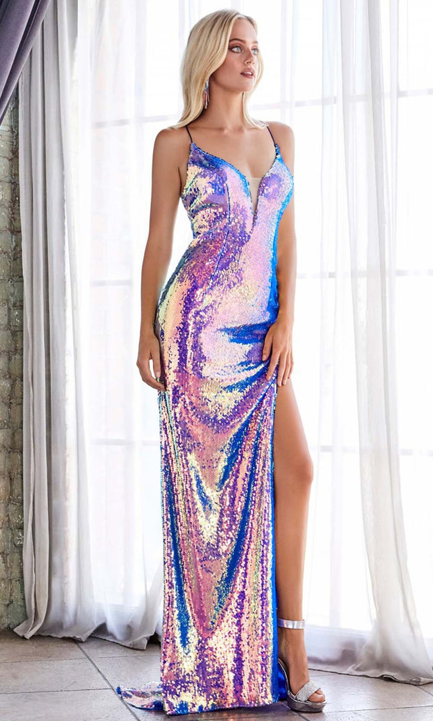 Cinderella Divine - CDS393 Sequined Deep V Neck Fitted Dress In Blue and Multi-Color