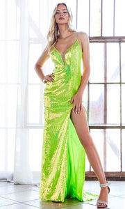 Cinderella Divine - CDS393 Sequined Deep V Neck Fitted Dress In Green