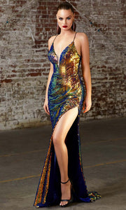 Cinderella Divine - CDS393 Sequined Deep V Neck Fitted Dress In Blue