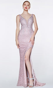 Cinderella Divine - CE0017 Beaded Lace V Neck Dress
