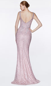 Cinderella Divine - CE0017 Beaded Lace V Neck Dress In Pink