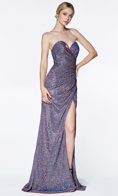 Cinderella Divine - CE0019 Sweetheart Glittered Gown In Blue