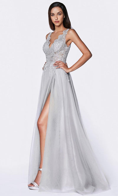 Cinderella Divine - CE0020 Embroidered Tulle A-Line Gown In Silver