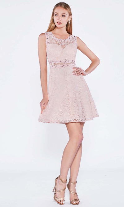 Cinderella Divine - CF175 Jewel Laced A-Line Short Dress In Pink