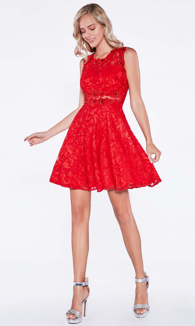 Cinderella Divine - CF175 Jewel Laced A-Line Short Dress In Red