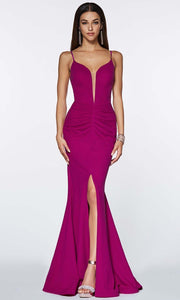 Cinderella Divine - CF329 Deep Neck Fitted Slit Gown In Purple