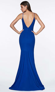 Cinderella Divine - CF329 Deep Neck Fitted Slit Gown In Blue