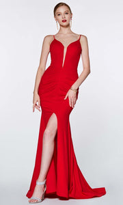 Cinderella Divine - CF329 Deep Neck Fitted Slit Gown