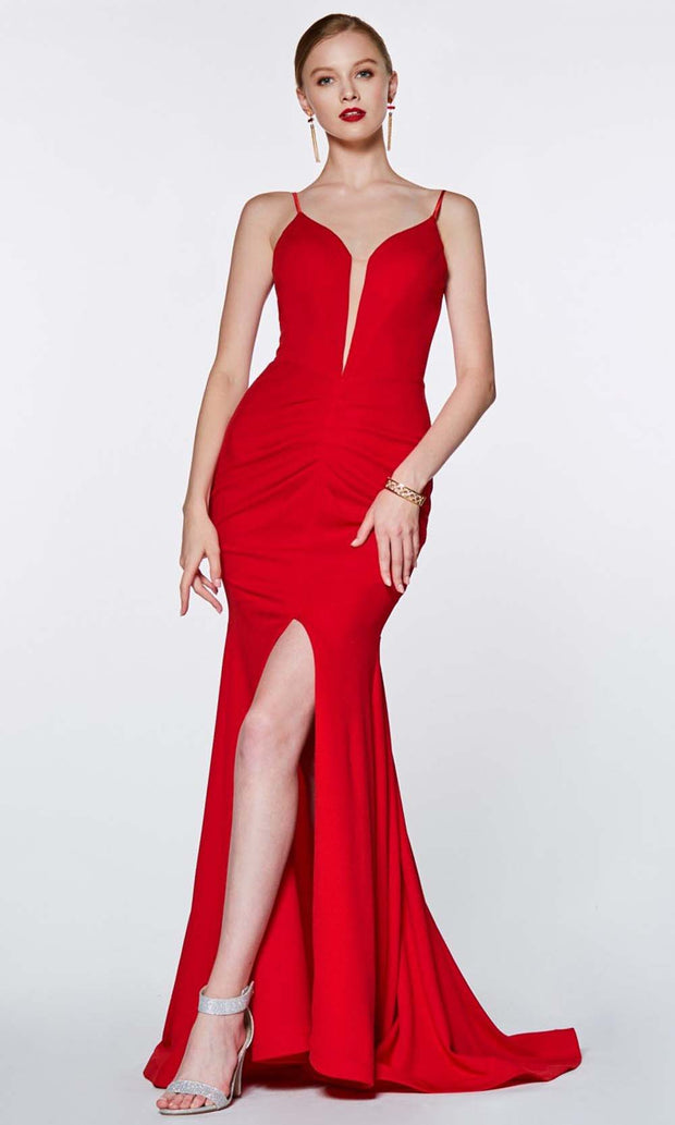 Cinderella Divine - CF329 Deep Neck Fitted Slit Gown In Red