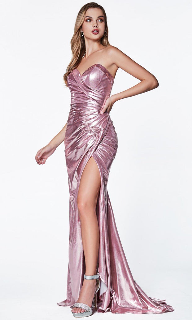 Cinderella Divine - CF335 Sweetheart Metallic Gown In Pink