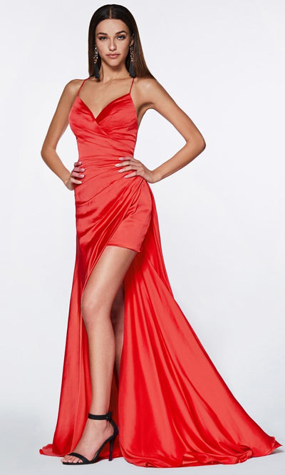 Cinderella Divine - CF343 V Neck Ruched, Sheath Dress In Red