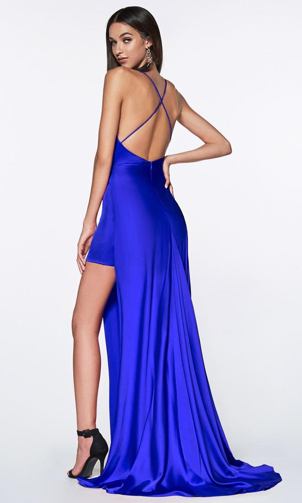 Cinderella Divine - CF343 V Neck Ruched, Sheath Dress In Blue