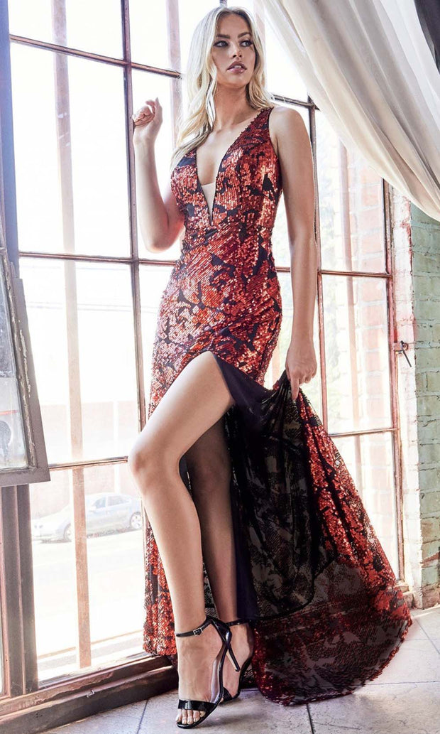 Cinderella Divine - CF347 Sexy Sequined Column Gown In Red and Black